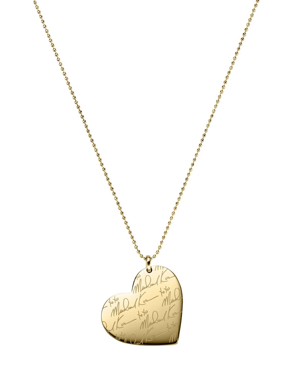 314241fa16f9 Michael Kors Golden MK Signature Heart Necklace