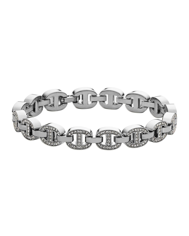 Silvertone Pave Maritime Tennis Bracelet