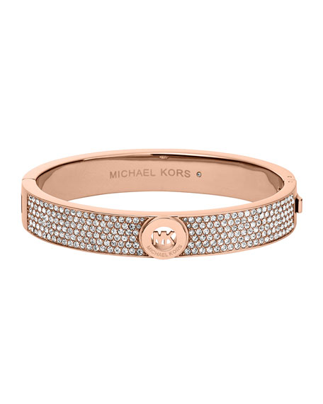 Rose Golden Fulton Pave Hinge Bangle