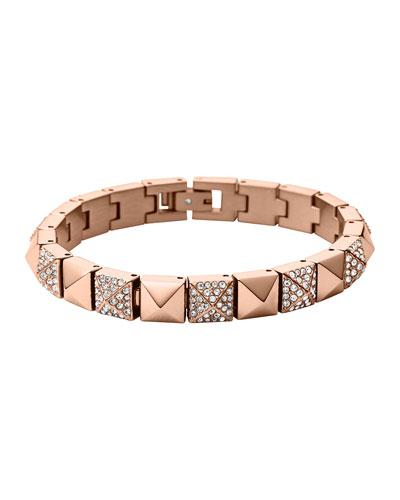 Rose Golden/Pave Pyramid Tennis Bracelet