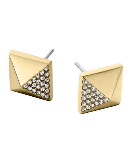 Golden Pave Pyramid Earrings