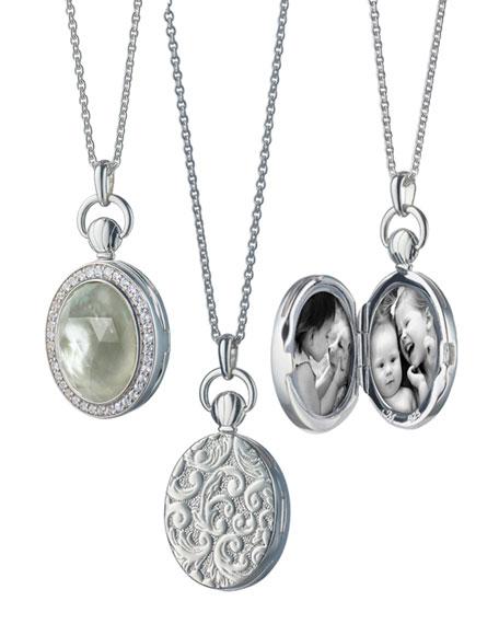 Monica Rich Kosann Prasiolite/Mother-of-Pearl Locket Necklace