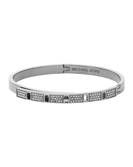 Michael Kors Silvertone Pave Slim Turn-Lock Bangle