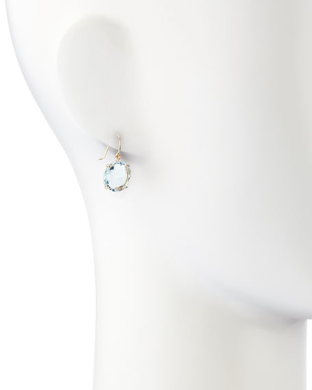 14k Yellow Gold Wire Drop Earrings in Blue Topaz