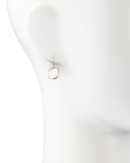 14k Yellow Gold Wire Drop Earrings in White Topaz