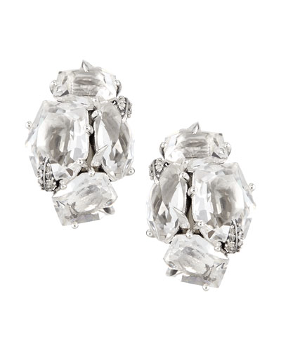 Clear Quartz & Diamond Cluster Clip Earrings