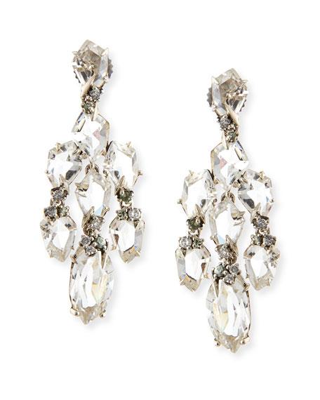 Small Chandelier Earrings w Quartz/Green Sapphire/Diamonds