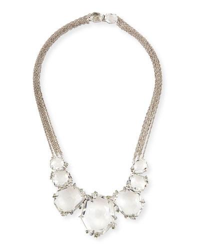 Large Clear Quartz & Diamond Cluster Necklace