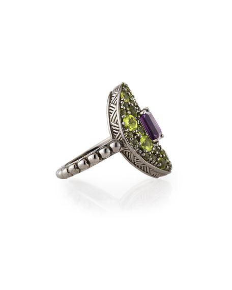 Peridot & Amethyst Silver Ring