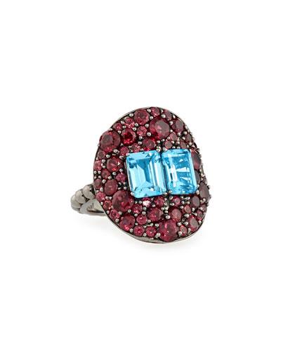 Rohodolite Garnet & Blue Topaz Ring