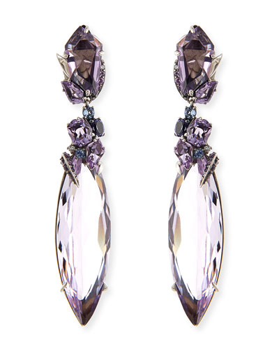 2-Drop Amethyst Cluster Earrings