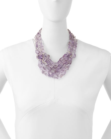 Multi-Strand Amethyst Marquis Cluster Necklace