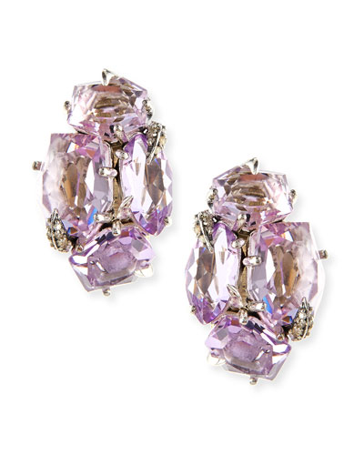 Amethyst Cluster Clip Earrings with Diamond Claw