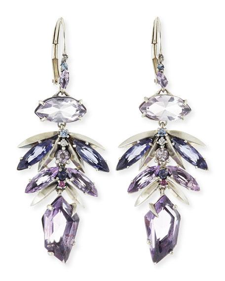 Amethyst Leaf Cluster Drop Earrings