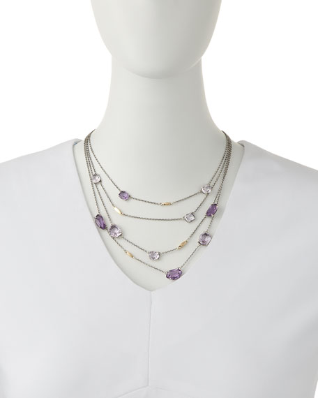 Four-Strand Amethyst & 14k Gold Station Necklace