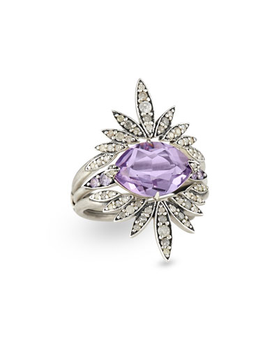 3-in-1 Convertible Ring with Amethyst, Diamond & Sapphire