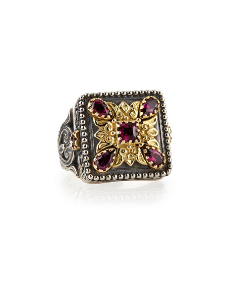 Silver & 18k Gold Rhodolite Square Ring