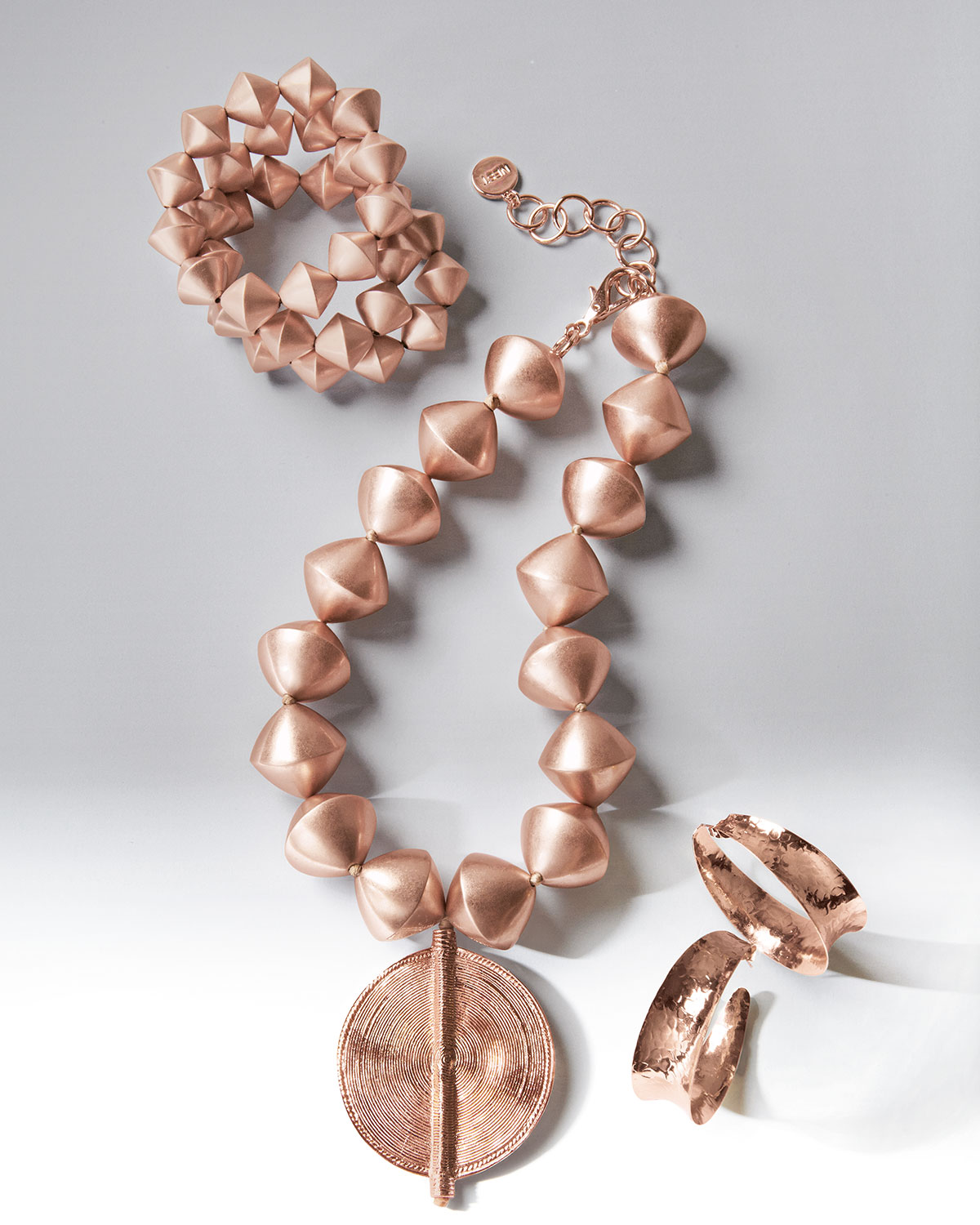 Nest Hammered Rose Gold-Plated Hoop Earrings