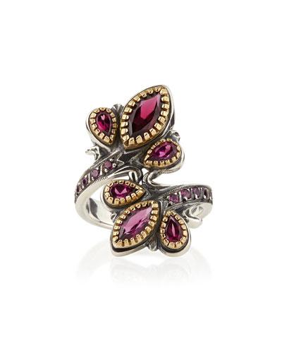 Konstantino Silver & 18k Gold Rhodolite Flourish Bypass Ring