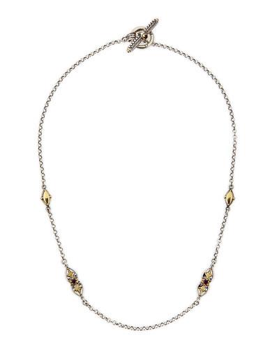 """Silver & 18k Gold Rhodolite Necklace, 18""""L"""
