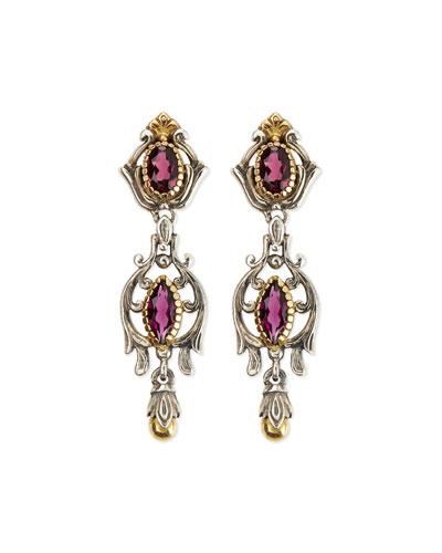 Konstantino Silver & 18k Gold Rhodolite Dangle Earrings