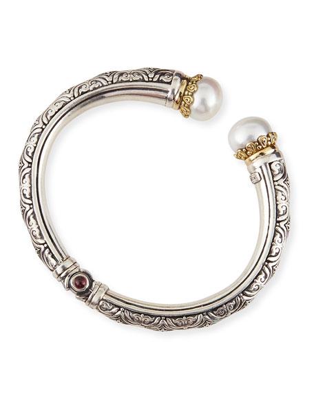 Pearl-Tip Sterling Silver Hinge Bracelet