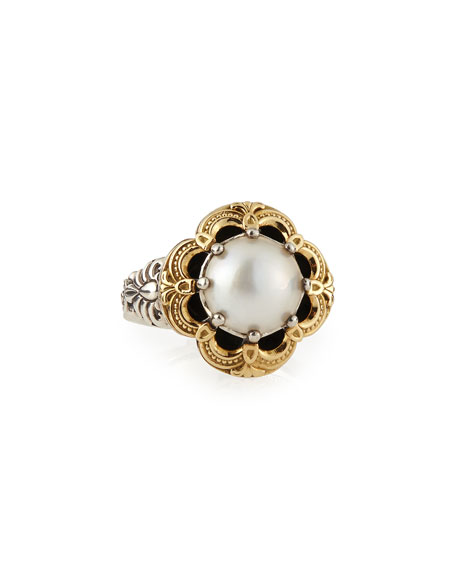 Silver/Gold Pearl Floral Ring