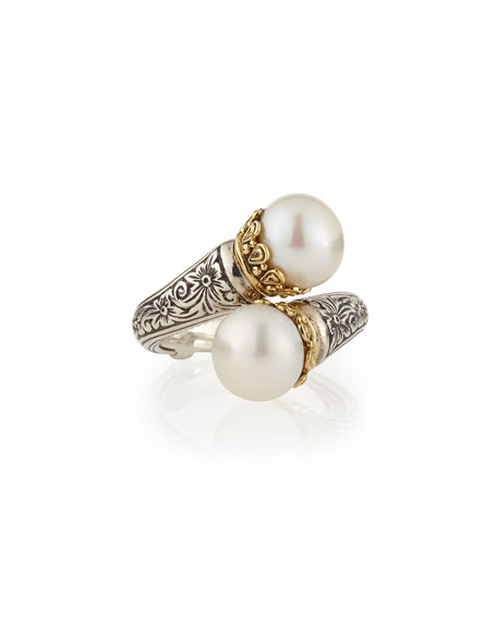 Pearl-Tip Silver/Gold Bypass Ring