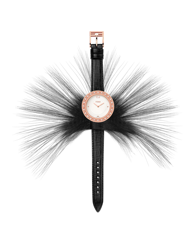5065a24cf Fendi Fendi My Way Watch with Removable Fur Glamy, Black/Rose ...