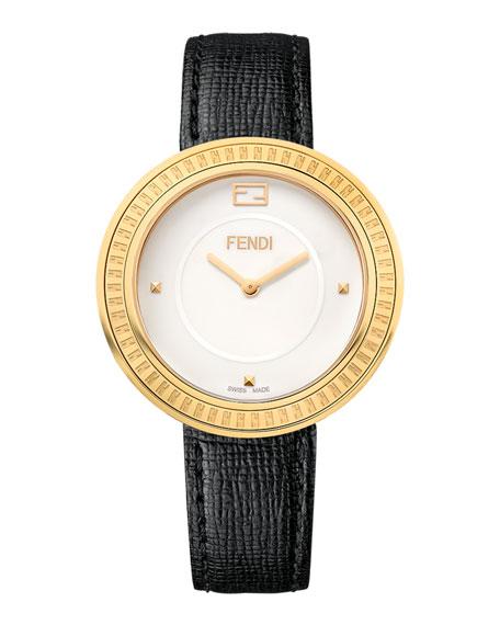 Fendi My Way Watch with Removable Fur Glamy, Black/Goldtone