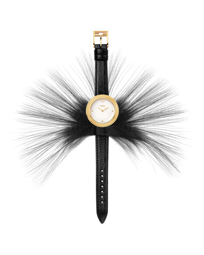 Fendi My Way Watch with Removable Fur Glamy, Black/Goldtone