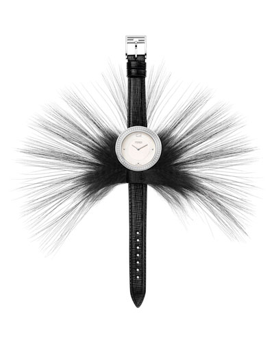 My Way Watch with Removable Fur Glamy, Black/Steel