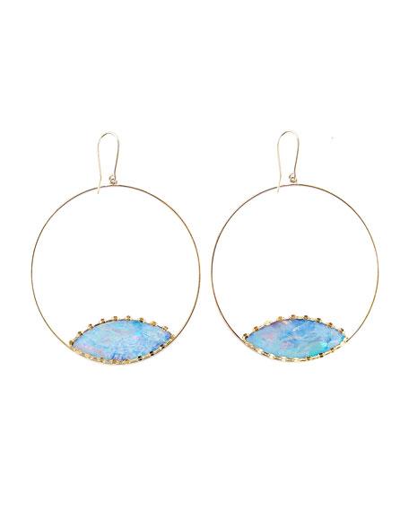 Lana Frosted 14k Gold Boulder Opal Eclipse Earrings