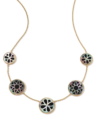 """Ippolita 18K Gold Polished Rock Candy Cutout Stone 5-Station Necklace in Phantom, 16-18"""""""