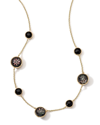 """Ippolita 18K Gold Polished Rock Candy Cutout Stone 7-Station Necklace in Phantom, 16-18"""""""