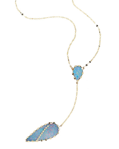 Lana 14k Frosted Lariat Necklace in Boulder Opal