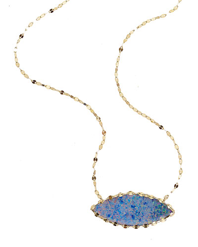 Frosted 14k Marquise Opal Necklace