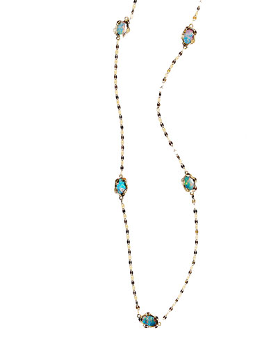 Frosted Ombre Opal Station Necklace