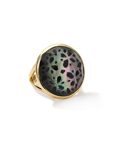 18k Gold Polished Rock Candy Round Cutout Doublet Ring, Phantom