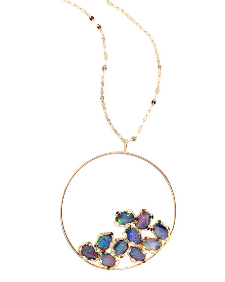 Frosted 14k Gold Opal Eclipse Pendant Necklace