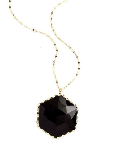 "Dusk 14k Gold Necklace with Rose-Cut Onyx Pendant, 30"""