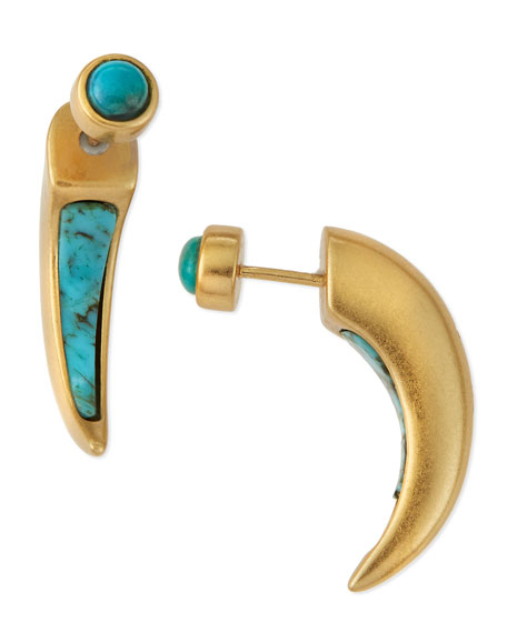 Turquoise Inlay Horn Earrings