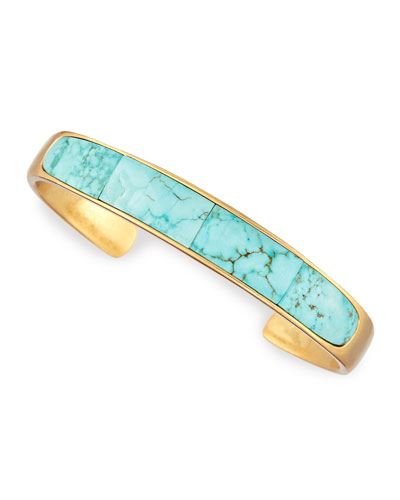 Irissa Turquoise Inlay Gold-Plate Cuff
