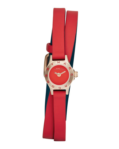 Blade Super Dinky Watch with Double-Wrap Strap, Red