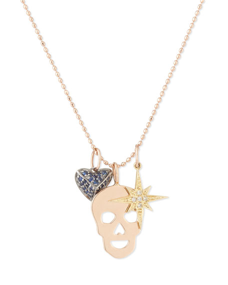 Sydney Evan Edge Trio Charm Necklace