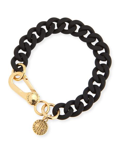 Rubber Curb Chain Bracelet, Black