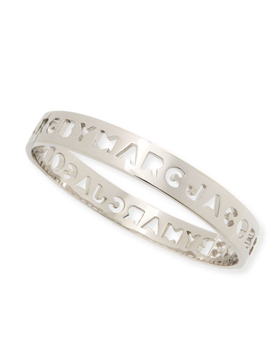 Cut it Out Logo Bangle, Silvertone