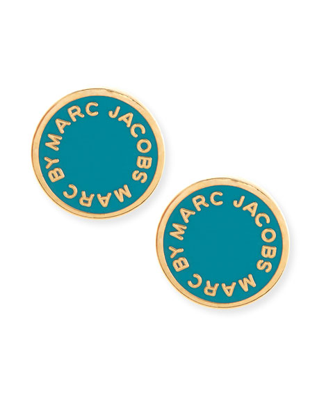 Enamel Logo Disc Stud Earrings, Wintergreen