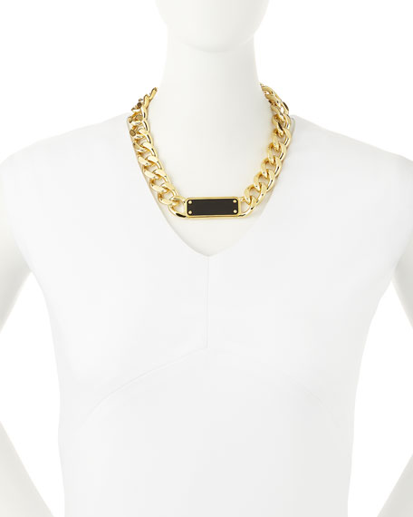 ID Plaque Chain Necklace, Black
