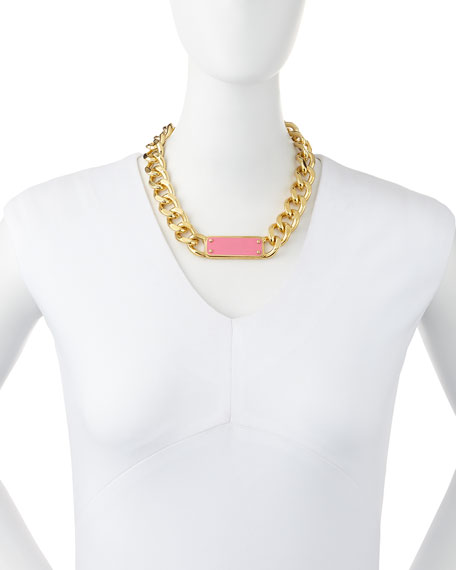 ID Plaque Chain Necklace, Pink